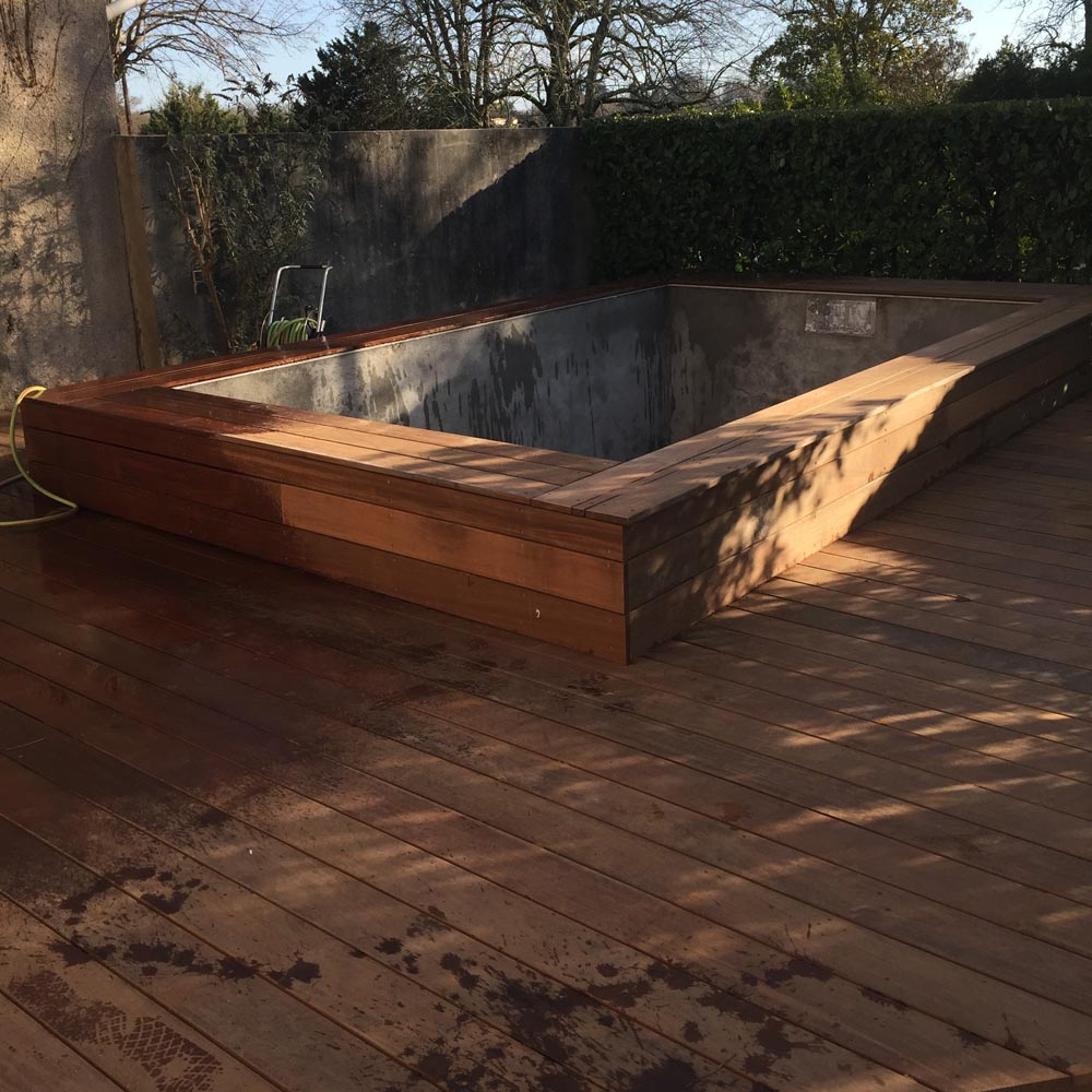 Construction terrasse ipé piscine Bouliac
